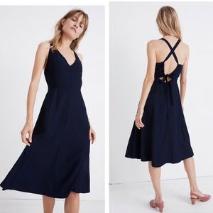 Madewell Crossback Midi Dress In Navy Blue Size 4